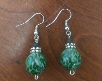 Green leopard earrings