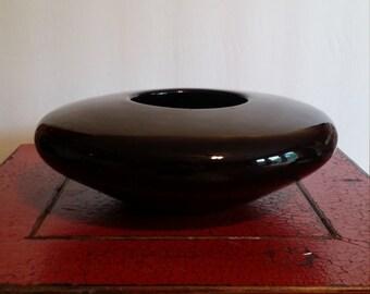 Black Ceramic Mid Century Modern 1950s Vase