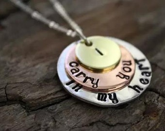 Layered Disc Medallion Necklace with Custom Message