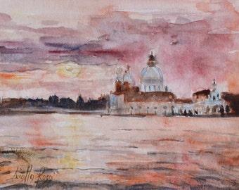 Original Watercolor | Venice | Basilica della Salute