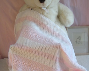 Crochet Pink Baby Blanket with Heart Pattern