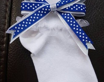 Decorated Girls Socks Blue Glitter Handmade Bow
