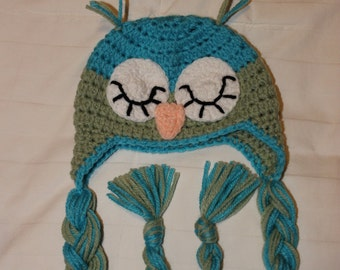 Crochet Owl Hat, Baby Hat, Newborn Owl Hat, Baby Shower Gift, Sleeping Owl Hat, Baby Sleeping Owl Hat