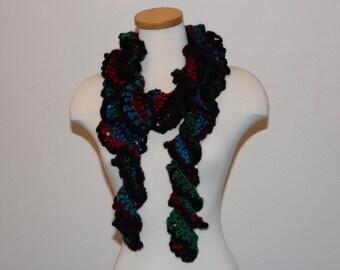 Crochet Multi-Color Scarf, Multi-Color Ruffle Scarf, Light Weight Multi-Color Scarf, Mystic Scarf