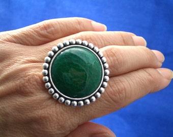 Green Genuine Dragon's Vein Large Round AGATE, Statement Boho Adjustable Size Ring!