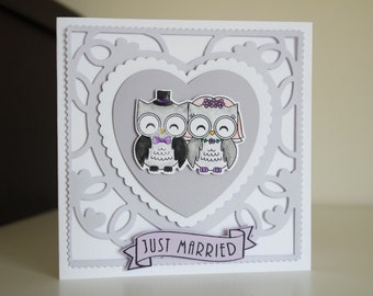 Just Married Owl Card