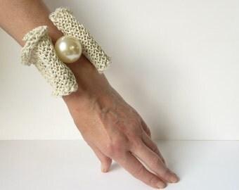 Ivory Linen Pearl Net Bracelet Linen Bracelet Pearls Bracelet