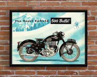 ROYAL ENFIELD 500 Bullet 1954 poster - Garage workshop Vintage - Limited Edition