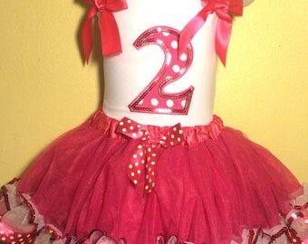 Minnie Mouse Dress Birthday Dress 2 year old HOT PINK Girl Baby Toddler