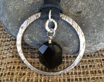 Steel Circle with a Jet Black Swarovski Crystal