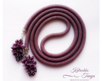 Knitted necklace. Amethyst necklace. Violet lariat. Violet  Y necklace. Jewelry stores