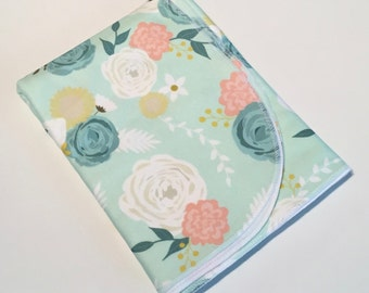 Organic Cotton Baby Blanket, Floral