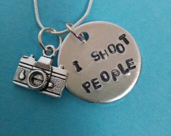 I Shoot People photogropher charm necklace.