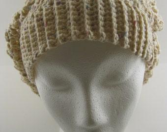 Women's Cotton Slouchy Hat, crocheted hat, winter hat