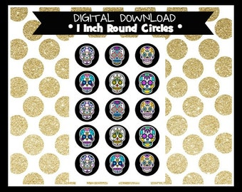 Sugar Skulls Halloween Day of the Dead 1 Inch Circles Digital Bottle Cap, pendants, magnets, planner sticker, bows