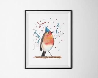 Party Animal No. 1: Happy (Bird)day / Birthday Bird / Watercolor / Painting / 5x7, 8x10, 11x14 / Print / Home Decor