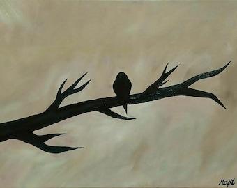 Bird On Branch Oil Painting 30x40 cm