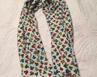 Colorful Mickey heads knit infinity scarf
