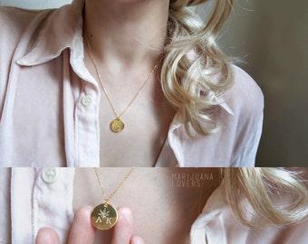 Custom Initial marijuanna Necklace, Initial Coin Necklace, Leaf necklace, Hand Stamped Necklace,Rose gold Necklace, Bridesmaid Gift