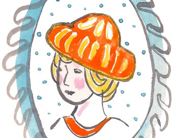 Girl in the Orange Hat Art Print Instant Download Portrait