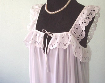 Sheer white nightgown with cotton lace and keyhole detail - XS to XXL
