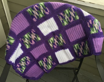 Checkerboard Blanket - Purple/White/Multicolor -- FREE SHIPPING