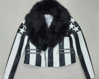 Ladies Soft Lamb Leather Jacket with removable Fox fur trimming.