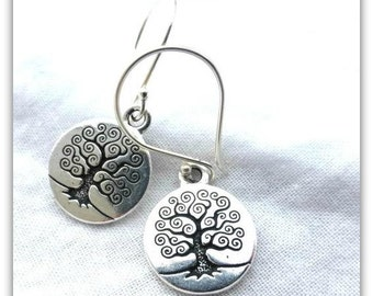 Sterling silver earrings, tree of life charms. Round, small. Yoga, bohemain jewelry.