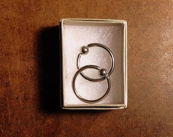 2 Sterling Silver Earrings or Body Jewellery Rings
