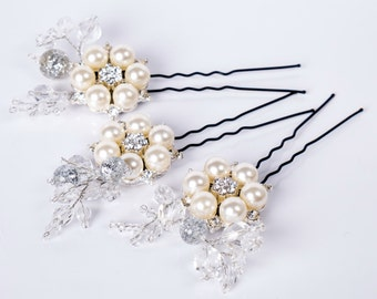 Set Hairpins Wedding Hair Accessories white silver Swarovski Crystals