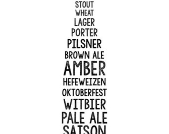 Different Kinds of Beer Printable/Sign/Poster
