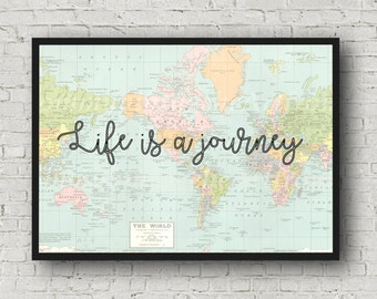 printable pdf world map, life is a journey, printable wall decor, instant download, world map,digital poster, digital art , inspiration.