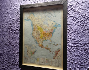 Old map of North America (1962) - original vintage of the 1962 North America map (21cm x 29, 7cm)-sold box