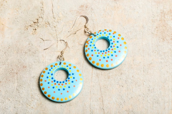 Painted wood - Blue - Gold - Silver 925 Creole earrings