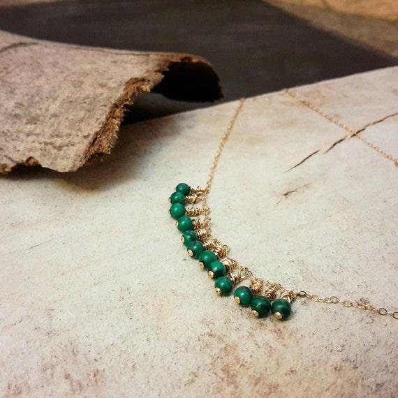 Short necklace of the neck boheme - Malachite now 14K gold filled