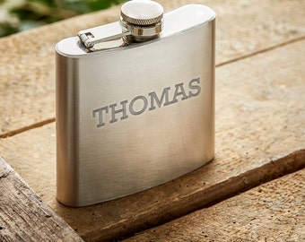 Hip Flask – Personalised with Name – Gifts for Men - Stainless Steel