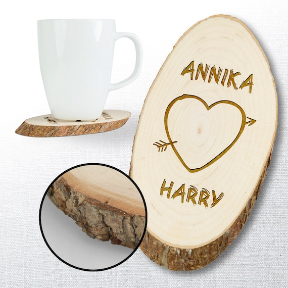 Personalised Wooden Coasters – Set of 2 - Personalised - Engraved with Names - Gifts for Lovers