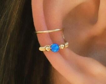 Dark Blue Opal Ear Cuff, Ear Cuff, Fake Piercing, No Piercing, Double Cuff, Cartilage Cuff, Cuff, DOUBLE WRAP CUFF