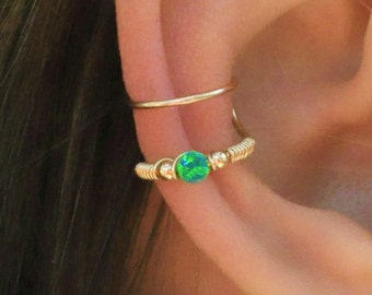 Ear Cuff, Green Opal Ear Cuff, Fake Piercing, No Piercing, Double Cuff, Cartilage Cuff, Cuff, DOUBLE WRAP CUFF