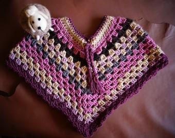 Poncho Girl, 100 % wool, hand made