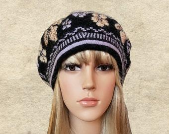 Winter womens beret, Wool ladies beret, Knitted wool beret, Wool beret lady, Trendy winter beret, Wool beret hat, Knit warm beret