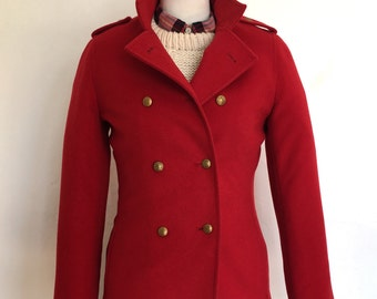 Red Wool Cashmere Peacoat Brooks Brothers 346 Small/Medium Size 2 Classic Style