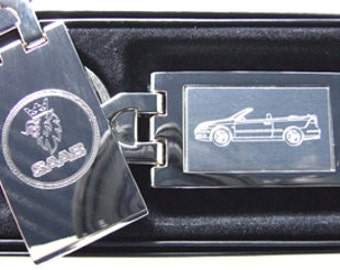 Saab 9-3 Convertible Engraved Keyring, Chrome with Engraved Stainless Steel Insert