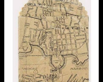Set of 6 Vintage Style Map Printed Bags