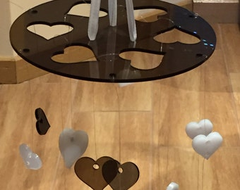 Hanging Ceiling Mobile with Hearts (black and white hearts)