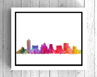 Memphis Tennessee Watercolor Art - TN State Art, Memphis Skyline Art, Memphis Cityscape, TN wall art, Memphis Painting, Digital City art