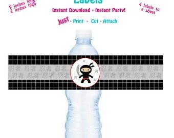 Printable Water Bottle Label Printable Ninja Birthday Party Water Bottle Label