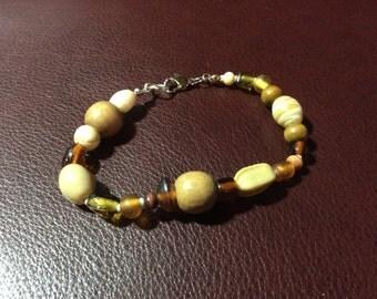 Browns & Golds Beaded Bracelet