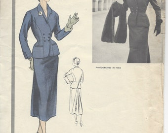 "1953 Vintage VOGUE Sewing Pattern B32"" SUIT - Skirt & Jacket (R369) By 'Desses'  Vogue 1232"