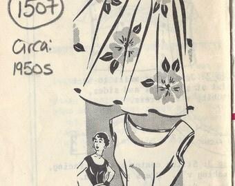 "1950s Vintage Sewing Pattern B38""-W32"" BLOUSE & CIRCLE SKIRT (1507) Sew-Rite 1429"